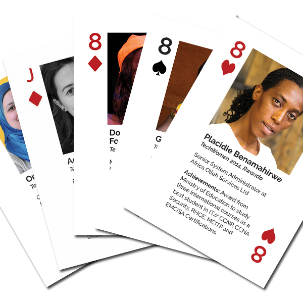 Images of the 8 of hearts, spades, diamondss, and Jacks of diamonds and spades from the Emerging Leaders from the Middle East and Africa Card Deck